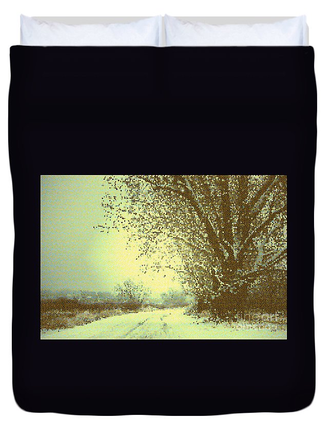 Pointillism Duvet Cover featuring the photograph Winter Road Abstract by Carol Groenen