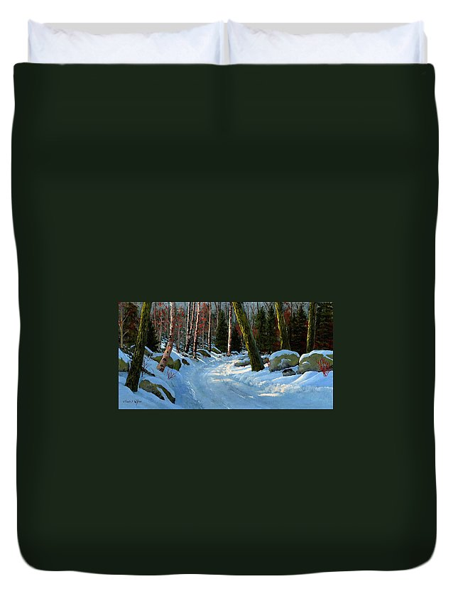 Winter Road Duvet Cover featuring the painting Winter Road by Frank Wilson
