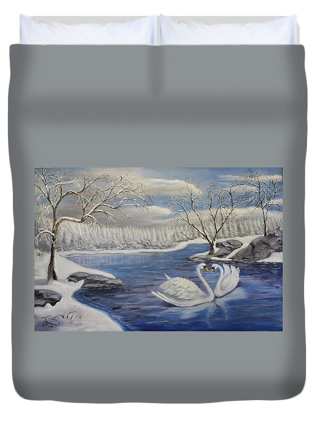 Landscape Duvet Cover featuring the painting Winter Romance by Lou Magoncia