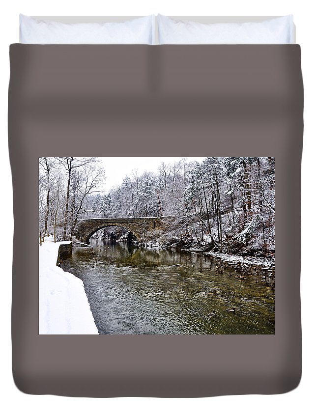 Winter Duvet Cover featuring the photograph Winter Scene At Valley Green by Bill Cannon