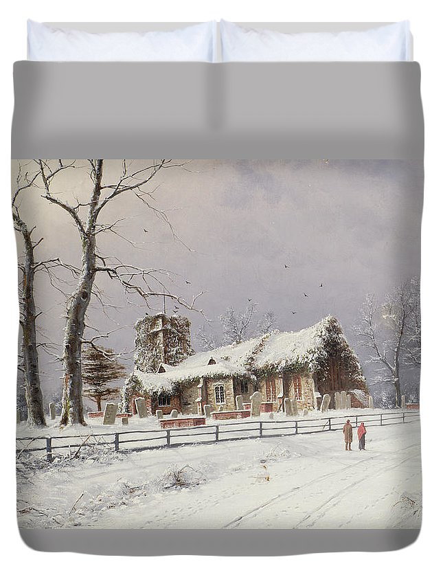 Snow;snowy;tree;graveyard;landscape Duvet Cover featuring the painting Winter Scene With Figures On A Path Near A Church by Nils Hans Christiansen