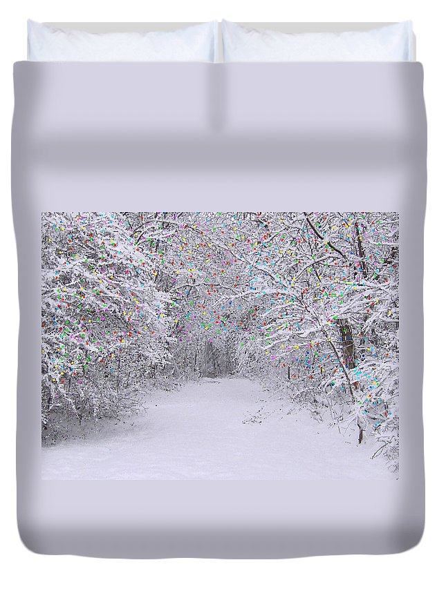 Trees Duvet Cover featuring the painting Winter Scene With Lights by Bruce Nutting
