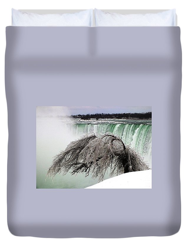 Nature Duvet Cover featuring the photograph Winter Sculpture By Niagara Mist by Peggy King