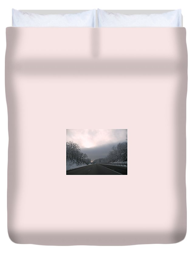 Sky Duvet Cover featuring the photograph Winter Solstice In The Smokies by Kathy Barney