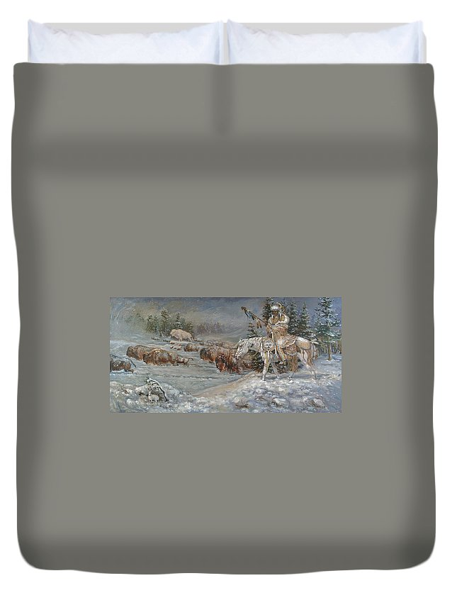 Snow Duvet Cover featuring the painting Winter Spirits by Kerry Nelson