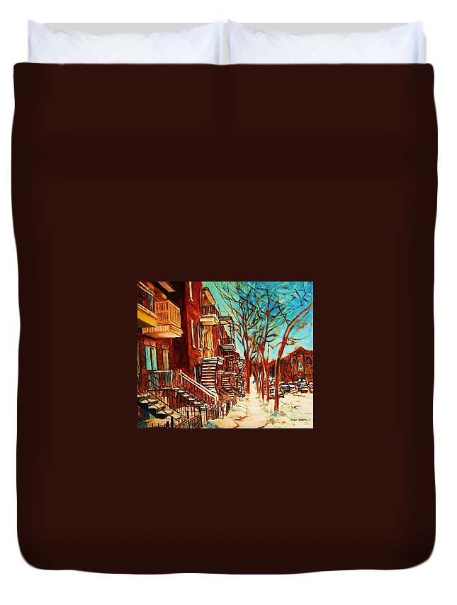 Verdun Paintings By Montreal Street Scene Artist Carole Spandau Duvet Cover featuring the painting Winter Staircase by Carole Spandau