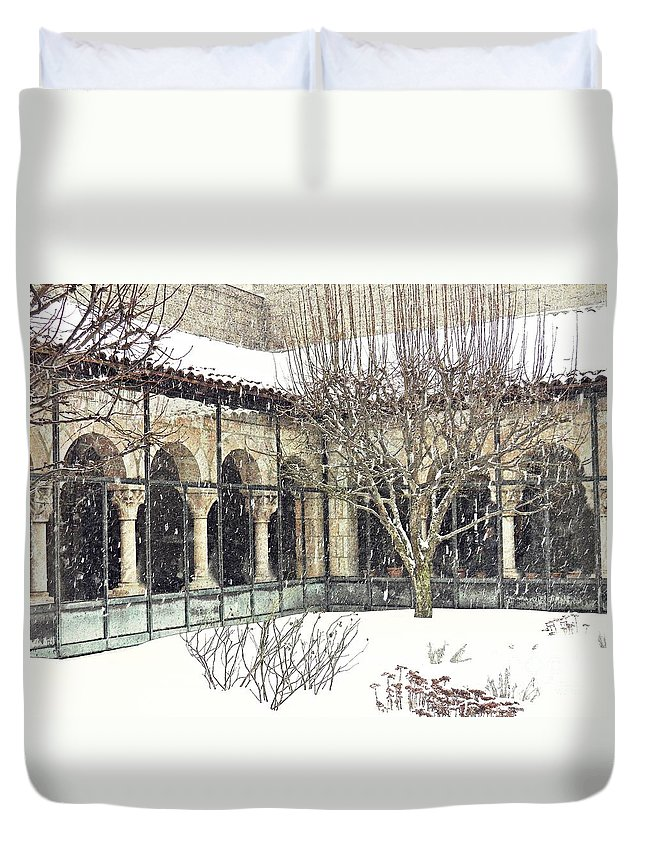 Cloisters Duvet Cover featuring the photograph Winter Storm At The Cloisters 4 by Sarah Loft