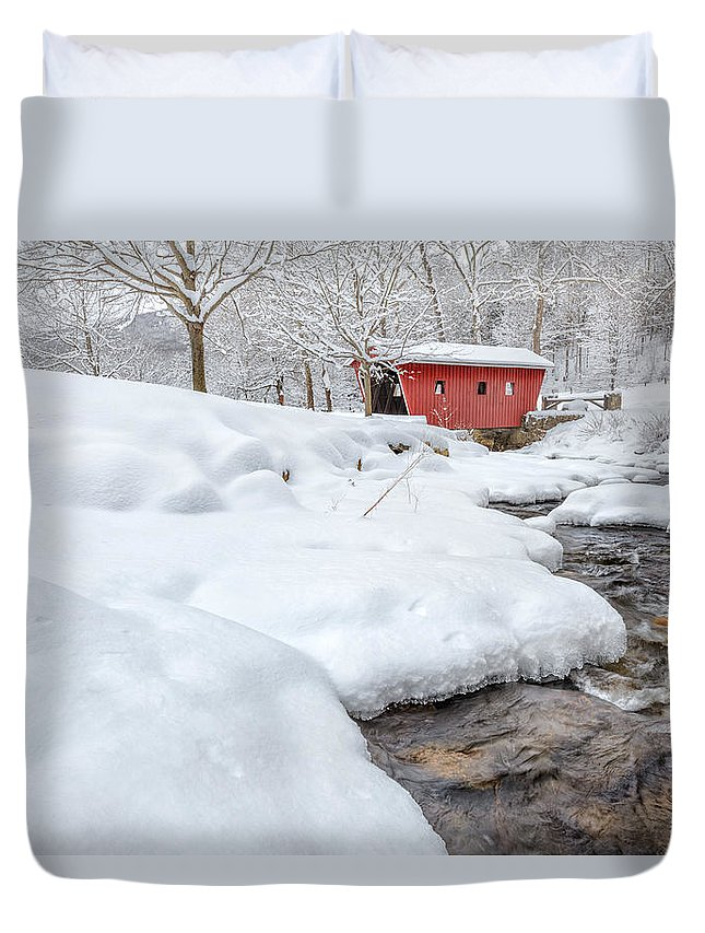 Covered Bridge Duvet Cover featuring the photograph Winter Stream by Bill Wakeley
