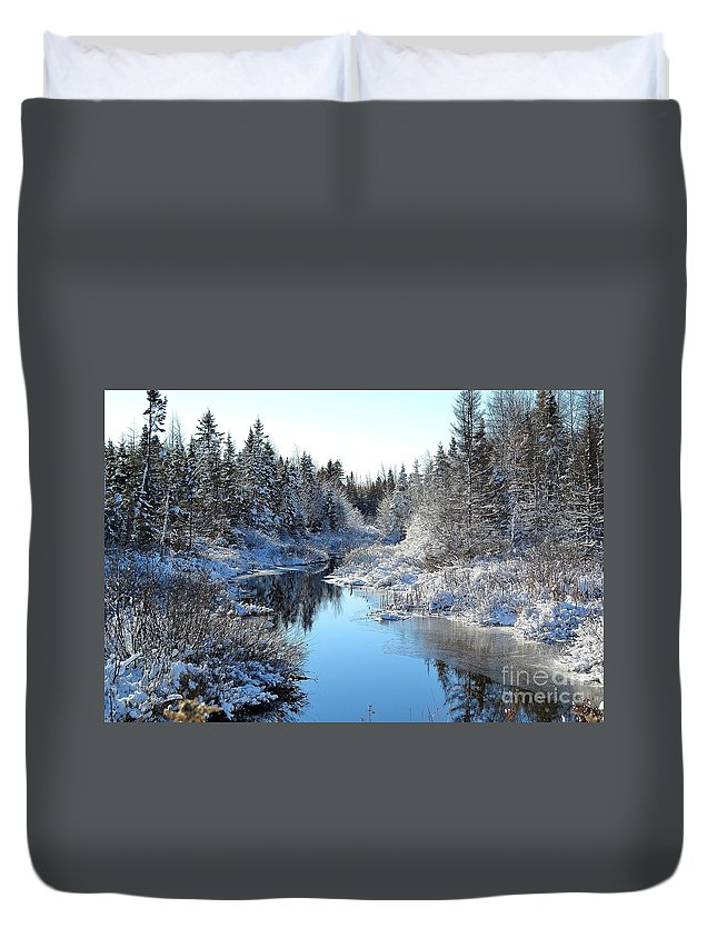 Winter Duvet Cover featuring the photograph Winter Stream by J L Kempster