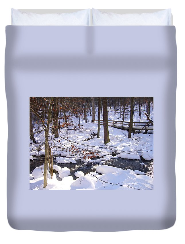 National Park Winter Beauty Stream Duvet Cover featuring the photograph Staying Power by Yow-Ning Chang