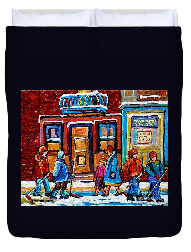 Montreal Duvet Cover featuring the painting Winter Street In Saint Henri by Carole Spandau