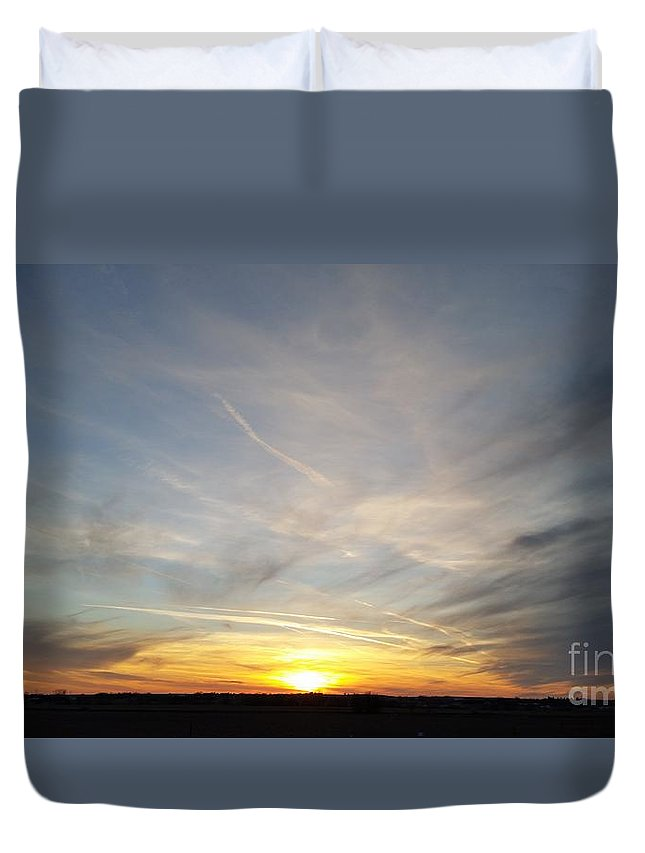 Branched Oak Lake Duvet Cover featuring the photograph Winter Sun by Caryl J Bohn