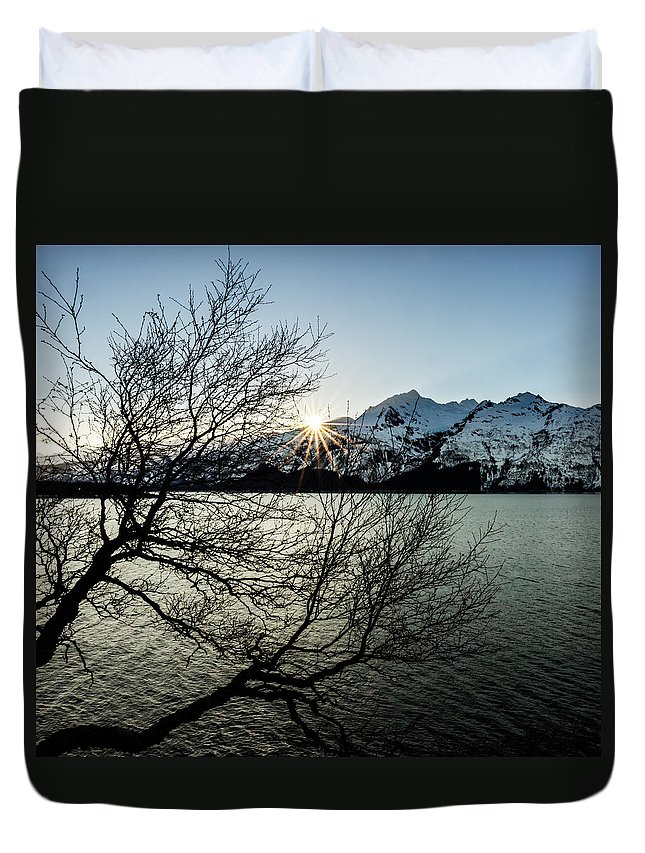 Chilkat Inlet Duvet Cover featuring the photograph Winter Sunset Sunburst by Michele Cornelius