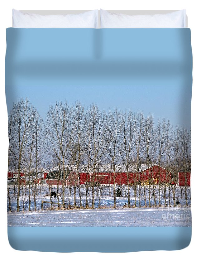 Winter Duvet Cover featuring the photograph Winter Tree Line by Ann Horn