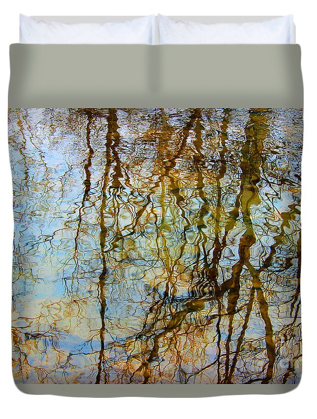 Abstract Duvet Cover featuring the photograph Winter Tree Reflections by Karen Adams