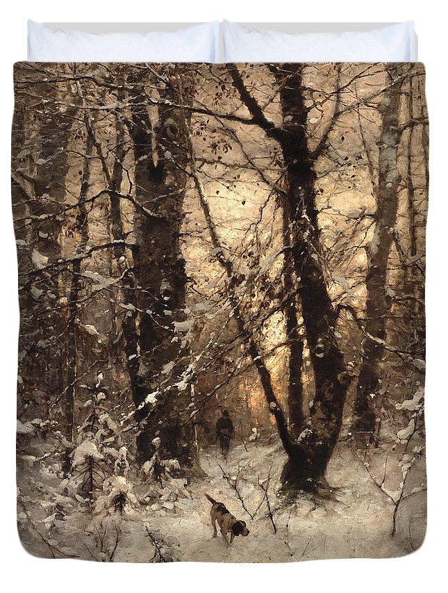 Winter Duvet Cover featuring the painting Winter Twilight by Ludwig Munthe