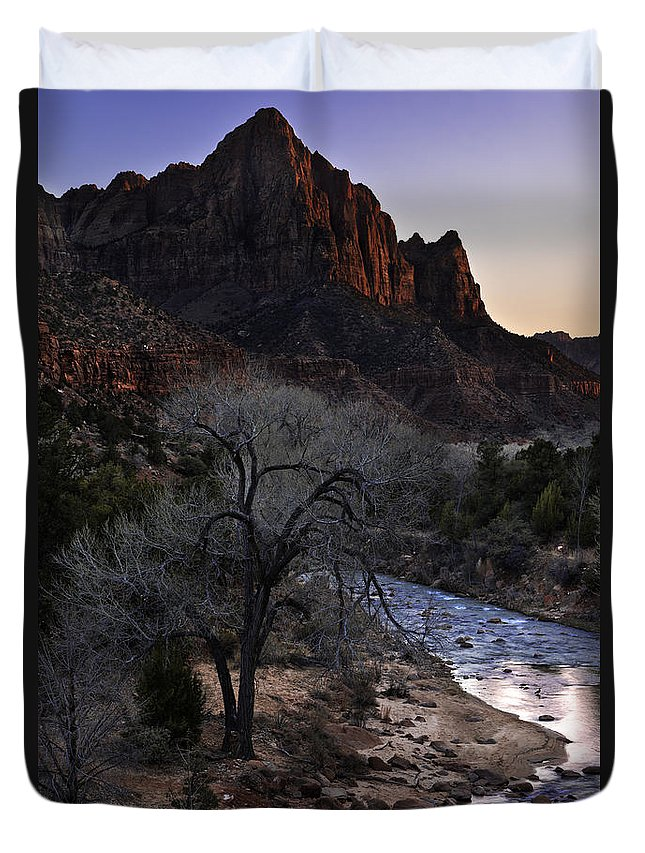 Winter Watchman Duvet Cover featuring the photograph Winter Watchman by Chad Dutson