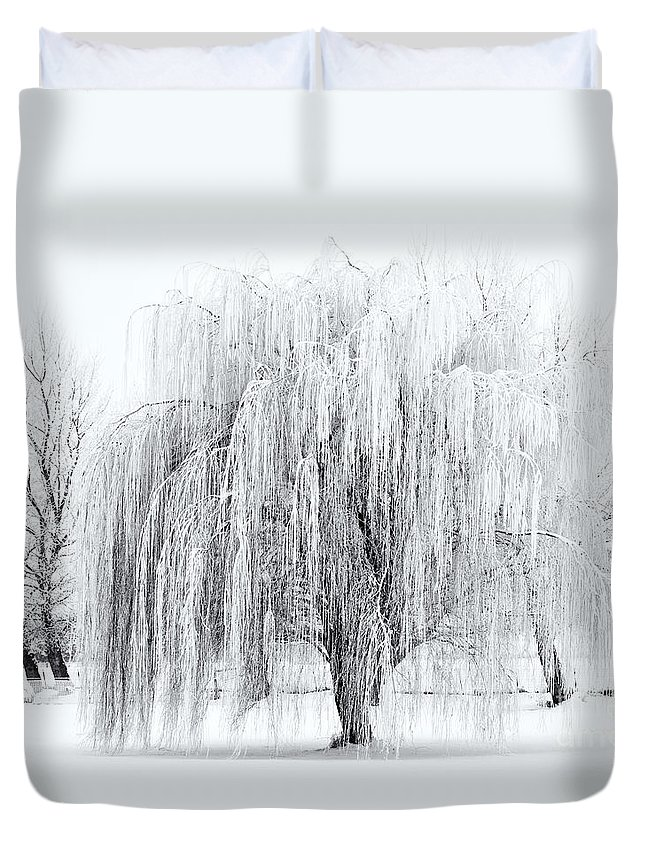 Willow Duvet Cover featuring the photograph Winter Willow by Mike Dawson