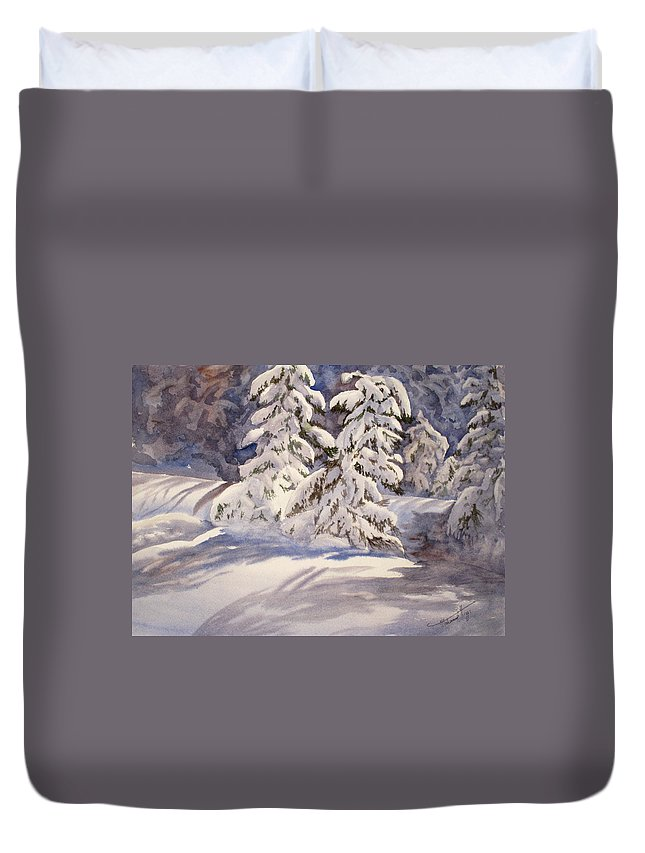 Winter Duvet Cover featuring the painting Winter Wonder by Mohamed Hirji