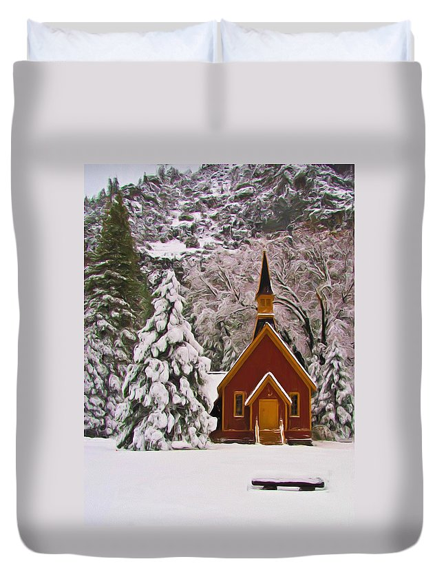 Alpine Duvet Cover featuring the photograph Winter Yosemite Chapel by Heidi Smith