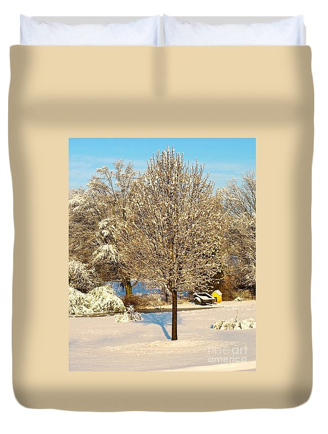 Bradford Pear Tree Duvet Cover featuring the photograph Winters Bradford Pear by Candy Frangella