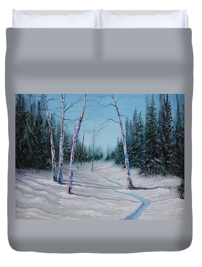 Xochi Hughes Madera Duvet Cover featuring the painting Winter's Day by Xochi Hughes Madera