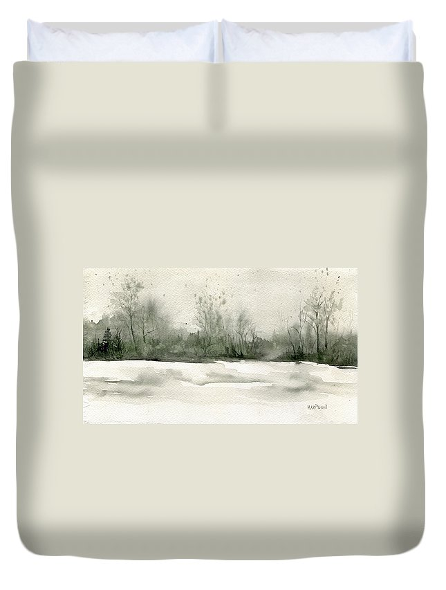 Simple Duvet Cover featuring the painting Winter's Depth by Mary Tuomi