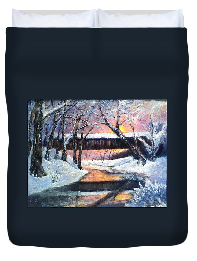 Covered Bridge Duvet Cover featuring the painting Winter's Glow by Gail Kirtz
