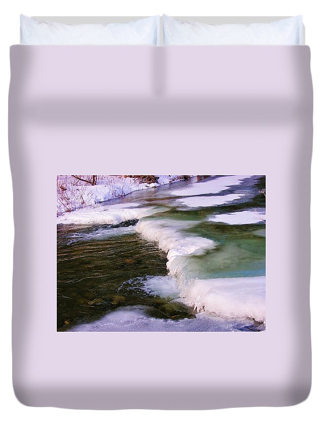 Winter Duvet Cover featuring the photograph Winters Ice by Sherman Perry