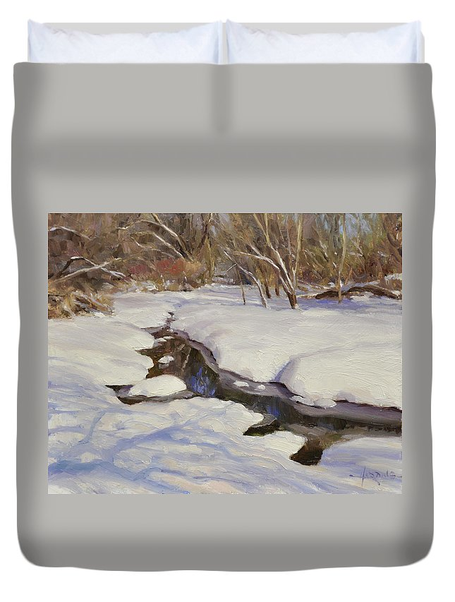 Winter Duvet Cover featuring the painting Winter's Mirror by Scott Harding