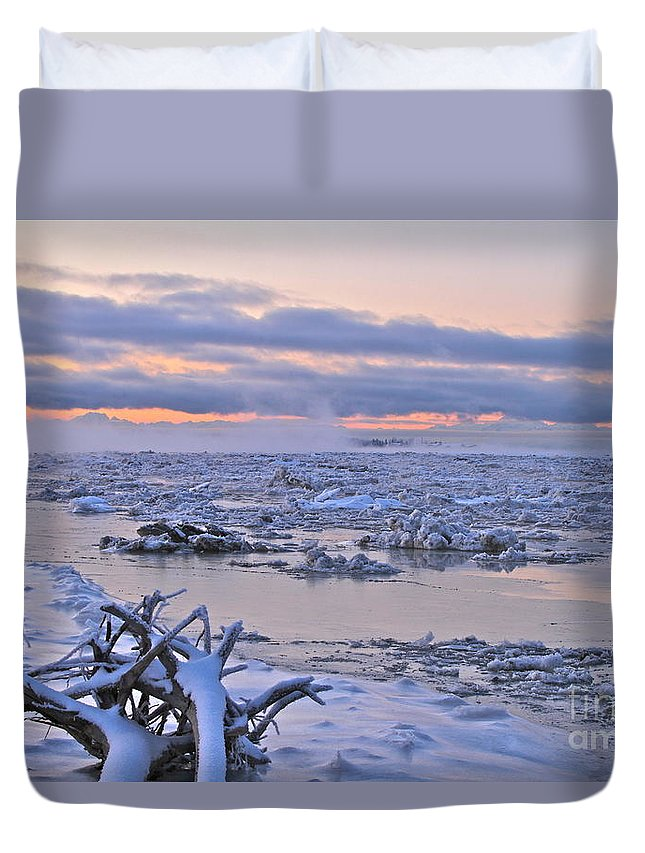 River Duvet Cover featuring the photograph Winters River by Rick Monyahan