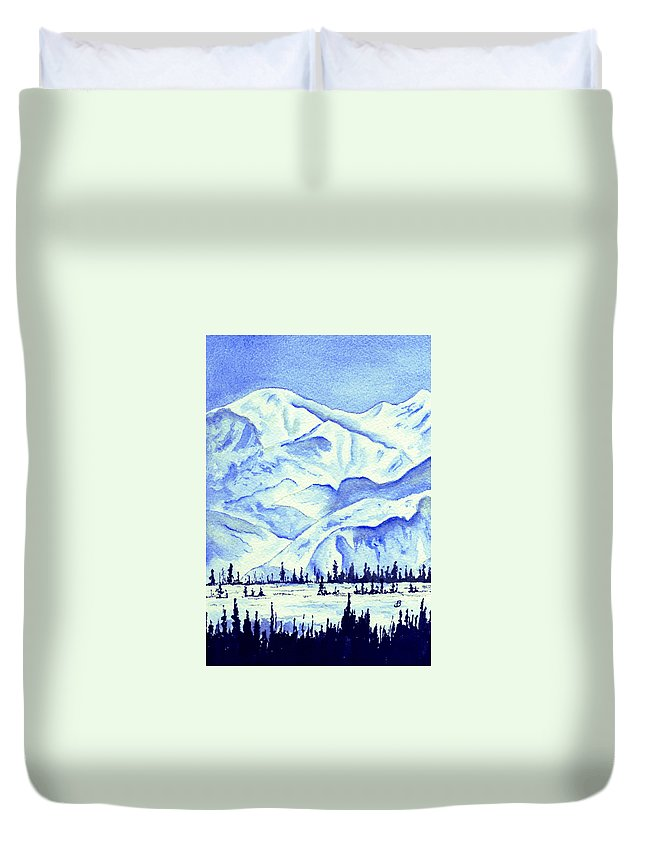 Landscape Duvet Cover featuring the painting Winter's White Blanket by Brenda Owen