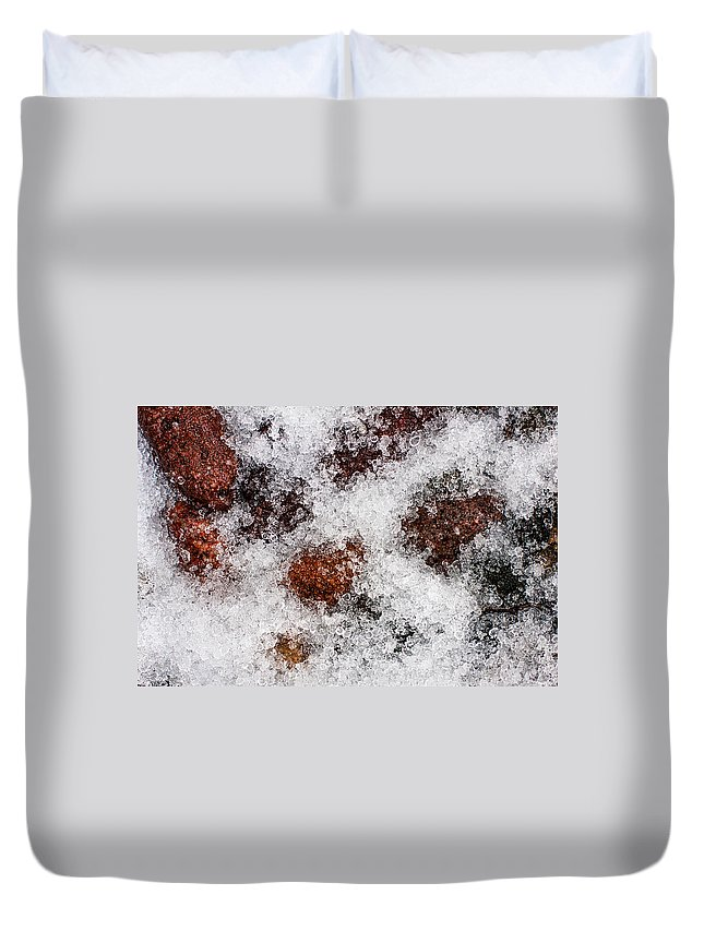 Hail Sleet Winter Storm Precipitation Weather Rocks Stones Ice Snow White Red Gray Grey Nature Natural Texture Tiny Cover Yellow Ball Chip Decorate Stage House Sell Real Estate Duvet Cover featuring the photograph Wintry Mix by Tom Gort