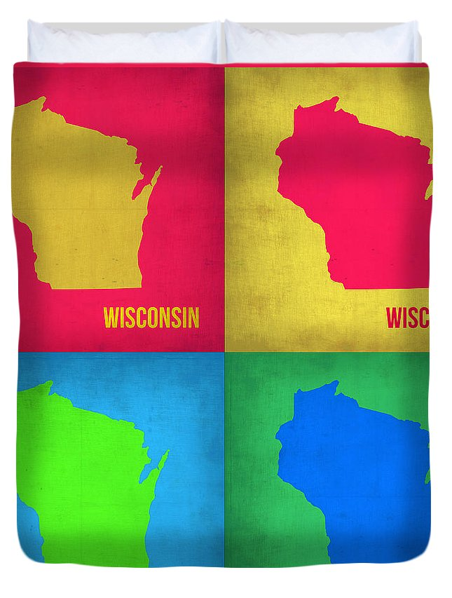 Wisconsin Map Duvet Cover featuring the painting Wisconsin Pop Art Map 1 by Naxart Studio