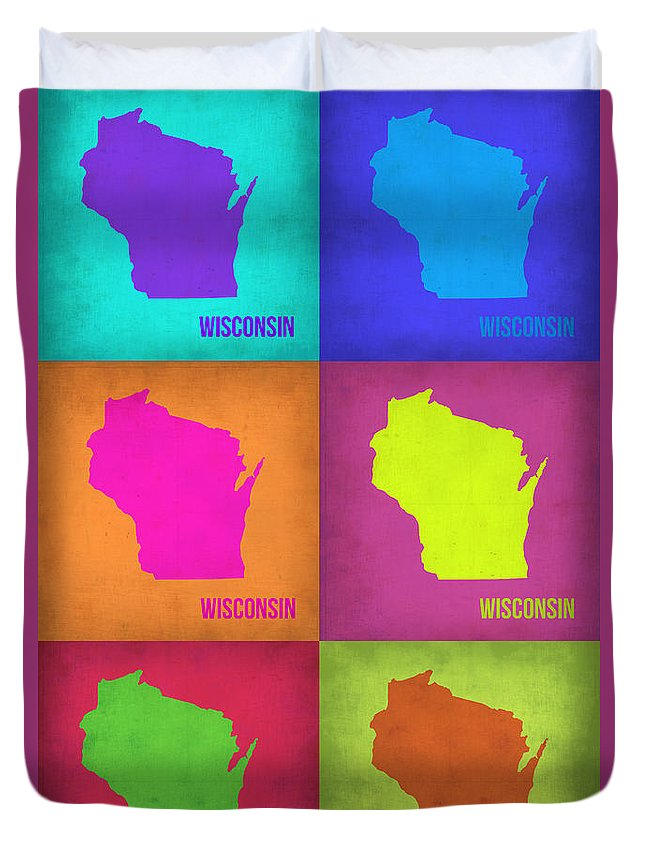 Wisconsin Map Duvet Cover featuring the painting Wisconsin Pop Art Map 2 by Naxart Studio