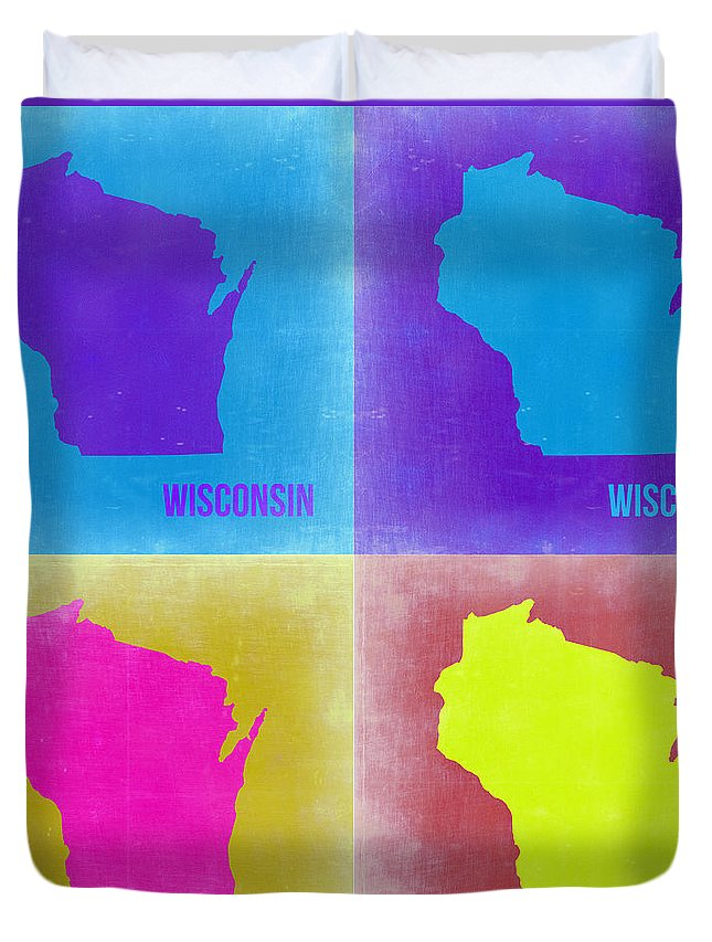 Wisconsin Map Duvet Cover featuring the painting Wisconsin Pop Art Map 3 by Naxart Studio