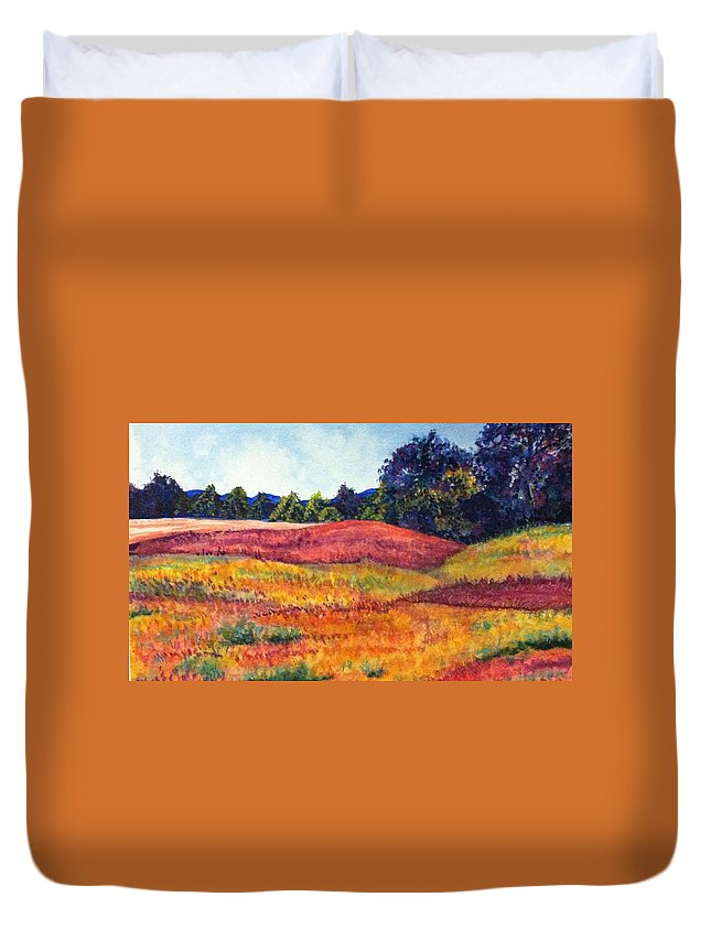 Polk Farm Duvet Cover featuring the painting Wisconsin Summer by Linda Markwardt
