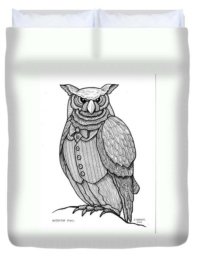 Owl Duvet Cover featuring the drawing Wisdom Owl by Jim Harris