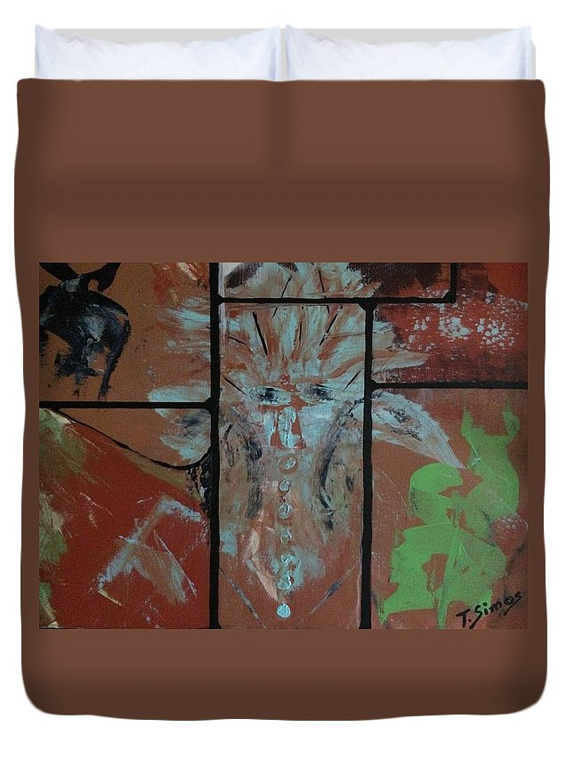 Orange Duvet Cover featuring the painting Wise Beyond Years by Theresa Simos