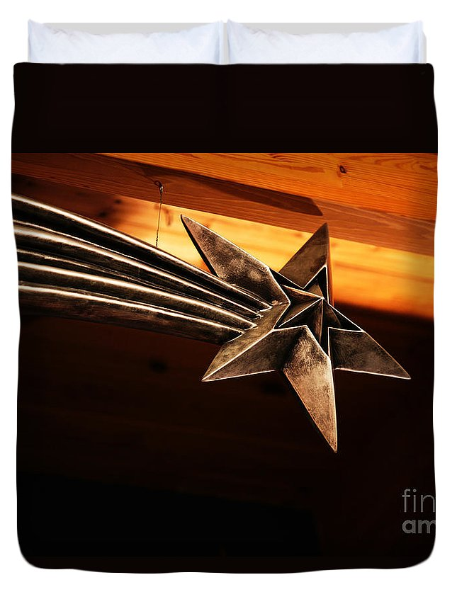 Star Duvet Cover featuring the photograph Wish Upon A Shooting Star by Linda Shafer