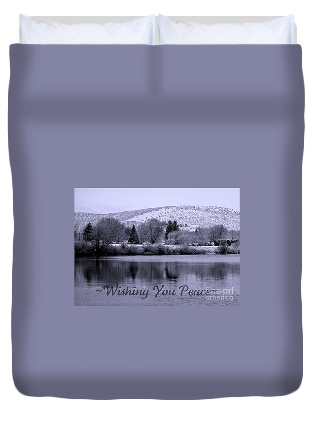 Holiday Duvet Cover featuring the photograph Wishing You Peace - Greeting Card by Carol Groenen