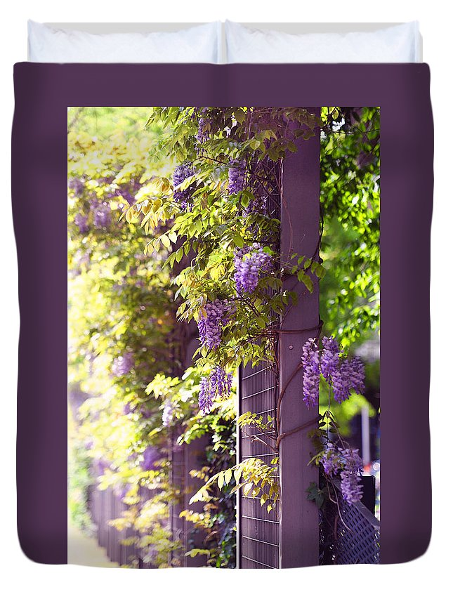 Wisteria Duvet Cover featuring the photograph Wisteria Garden 10 by Jenny Rainbow