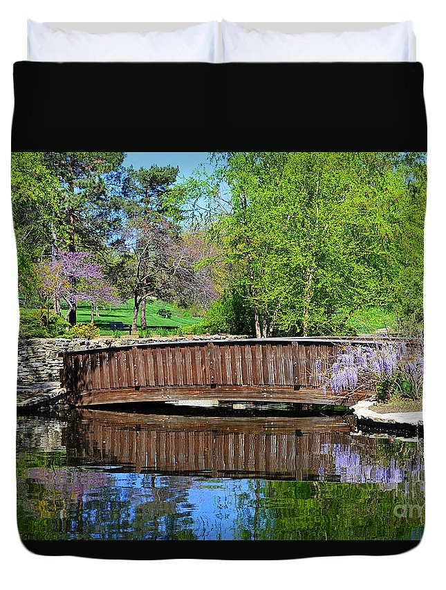 Wisteria Duvet Cover featuring the photograph Wisteria In Bloom At Loose Park Bridge by Catherine Sherman