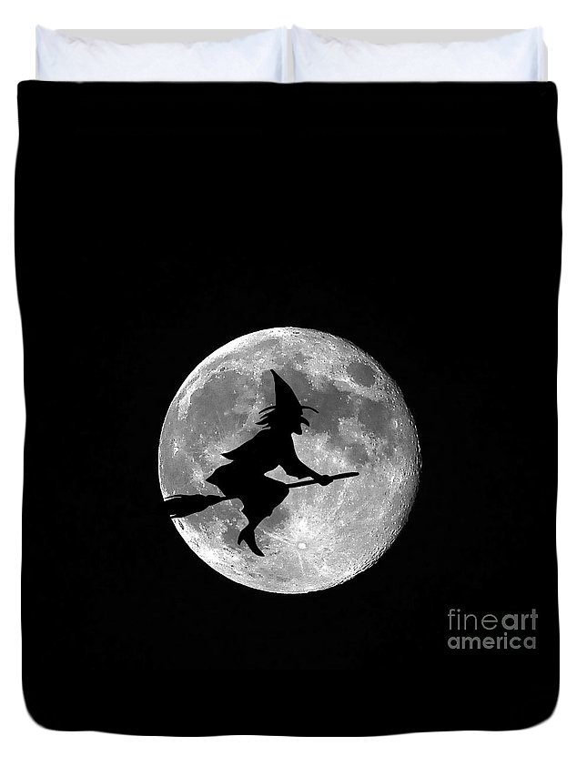 Moon Duvet Cover featuring the photograph Witchy Moon by Al Powell Photography USA