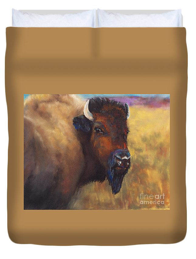 Bison Duvet Cover featuring the painting With Age Comes Beauty by Frances Marino