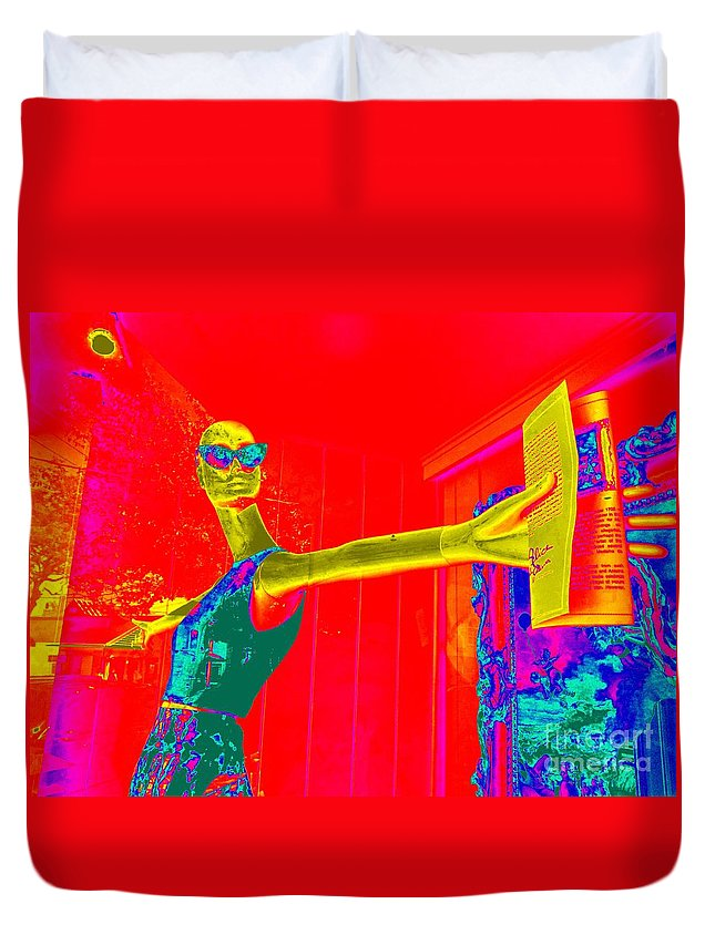 Pop Art Duvet Cover featuring the digital art With Open Arms by Ed Weidman