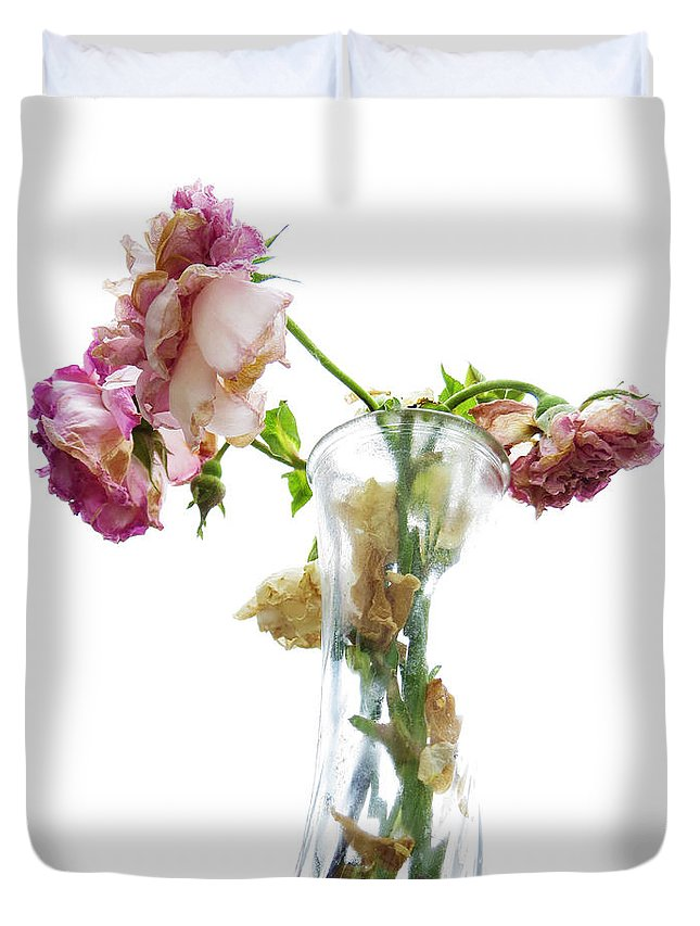 Roses Duvet Cover featuring the photograph Withering Away by Shawna Rowe