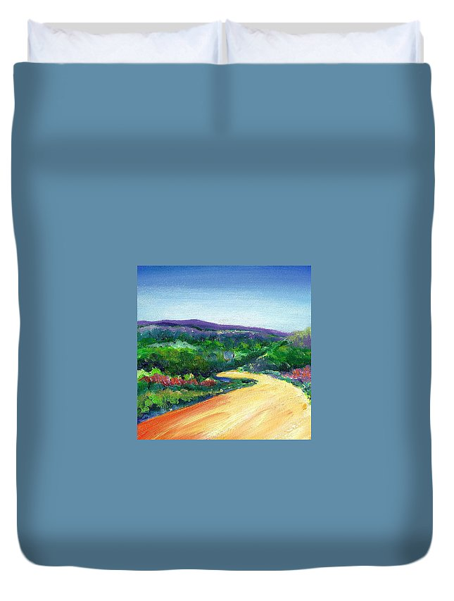 La Gloria Road Duvet Cover featuring the painting Without A Care by Shannon Grissom