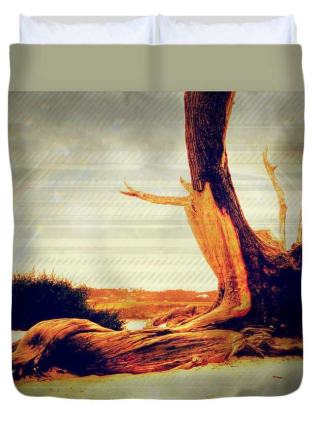 Ocean Duvet Cover featuring the photograph Withstanding The Storms by Sherry Flaker