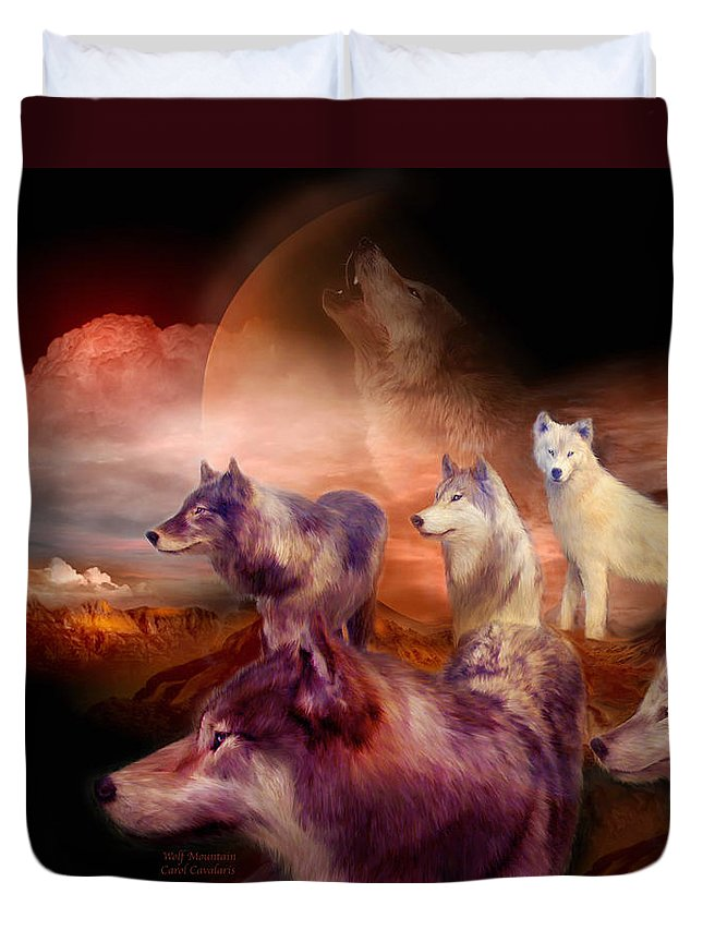 Wolf Duvet Cover featuring the mixed media Wolf Mountain by Carol Cavalaris